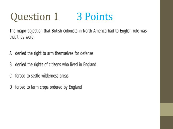 Question 1 3 points