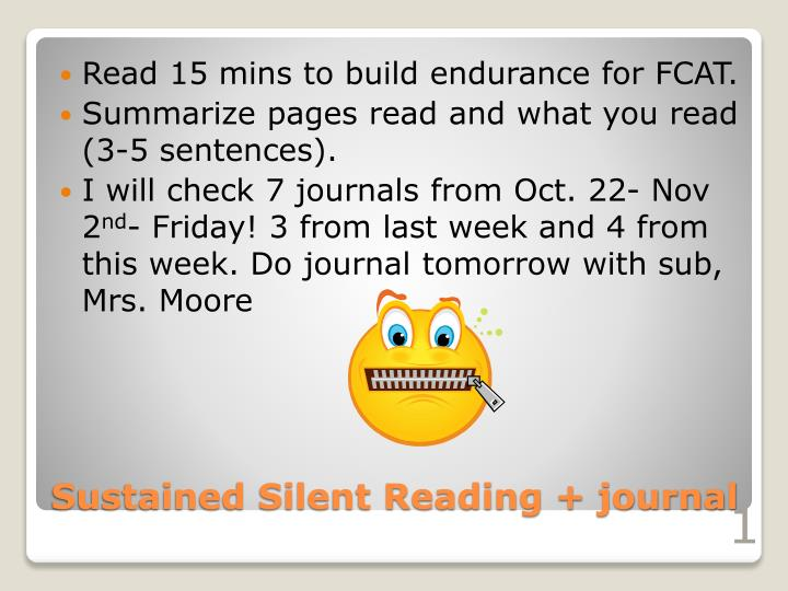 Sustained silent reading journal