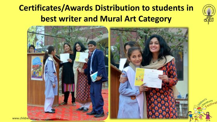 Certificates/Awards Distribution to students in best writer and Mural Art Category