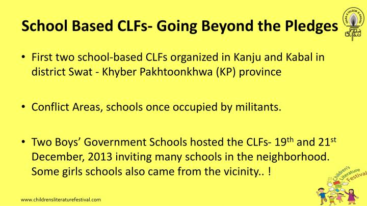 School Based CLFs- Going Beyond the Pledges