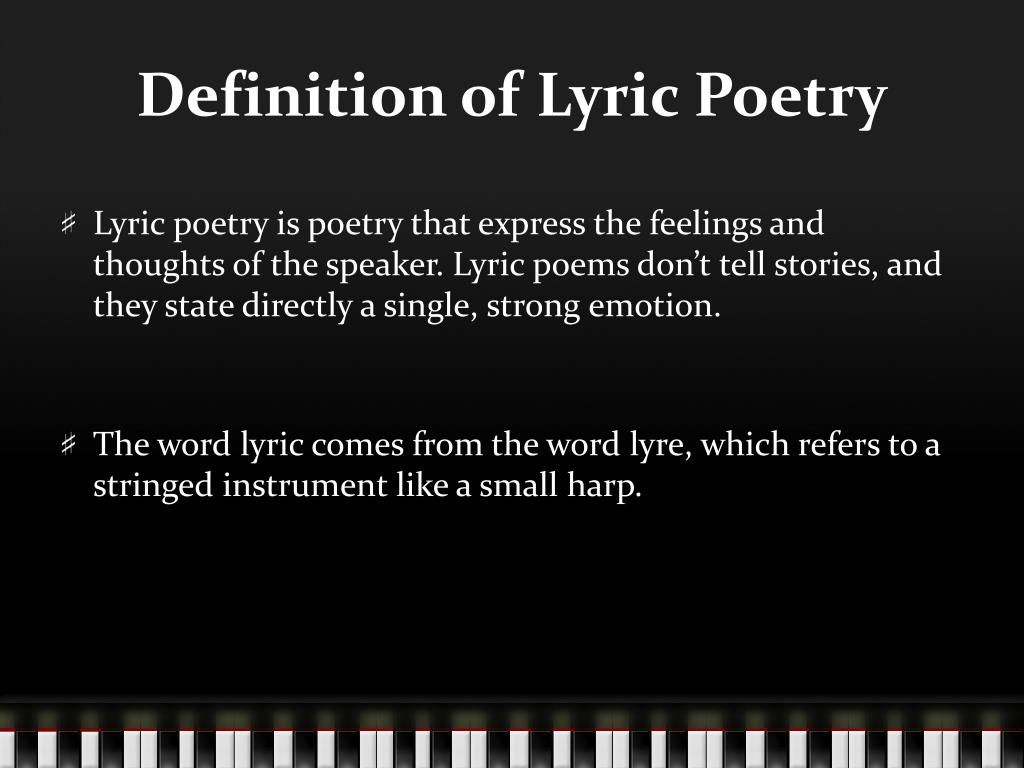 PPT - Lyric Poetry PowerPoint Presentation - ID:2048246