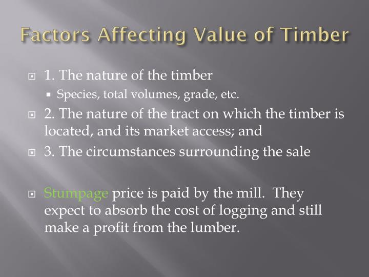 Factors affecting value of timber
