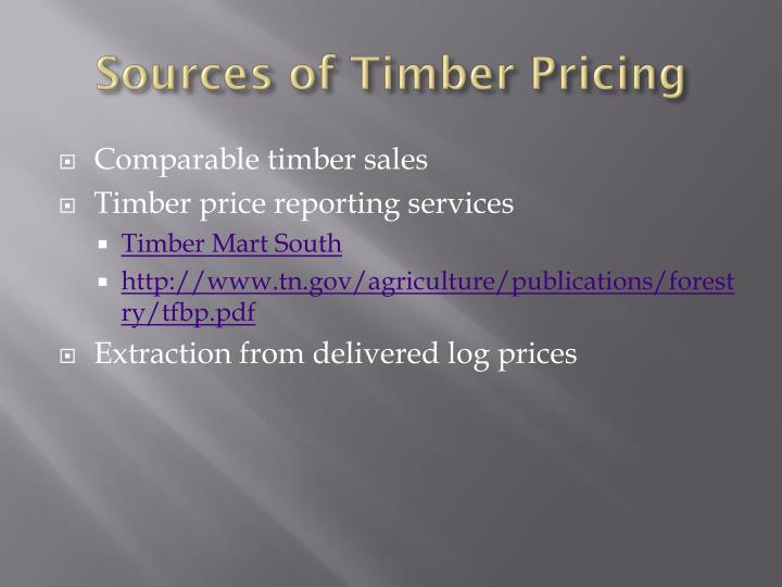 Sources of Timber Pricing