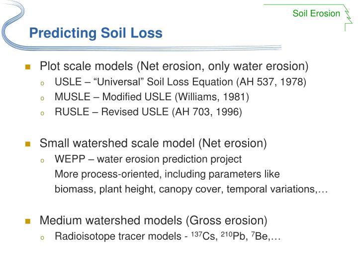 Predicting soil loss