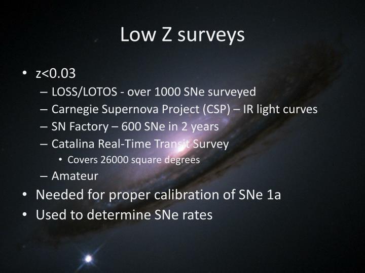 Low Z surveys