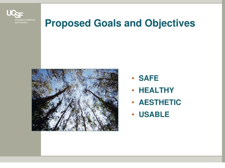 Proposed Goals and Objectives