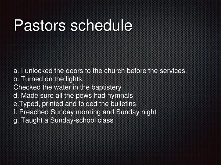 Pastors schedule
