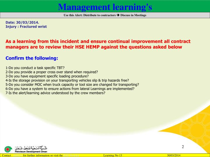 Management learning's