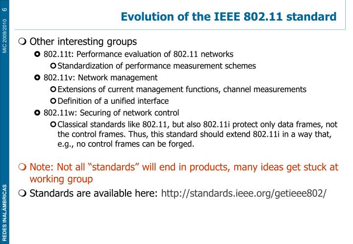 Evolution of the IEEE 802.11 standard