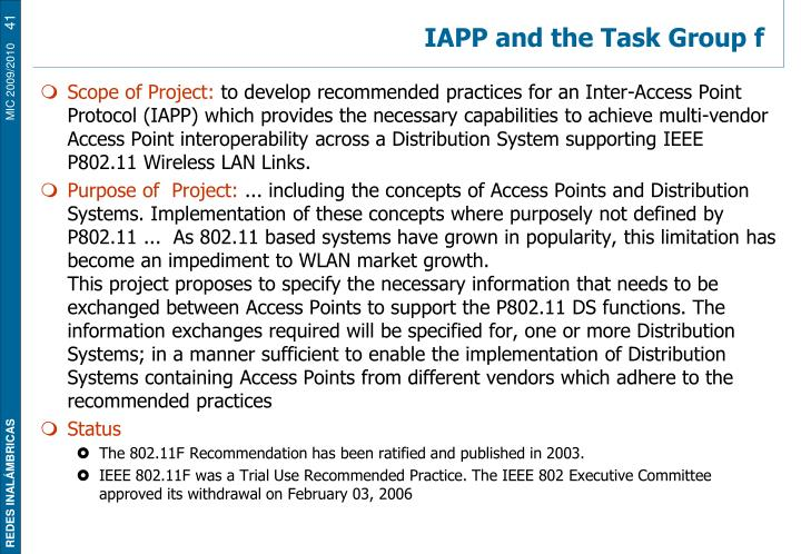 IAPP and the Task Group f