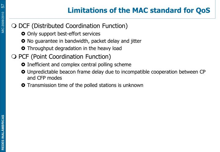 Limitations of the MAC standard for QoS