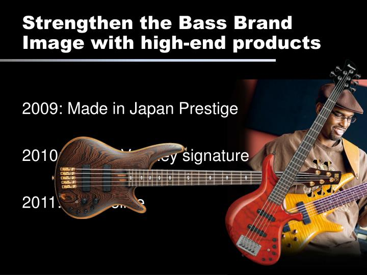 Strengthen the Bass Brand Image with high-end products