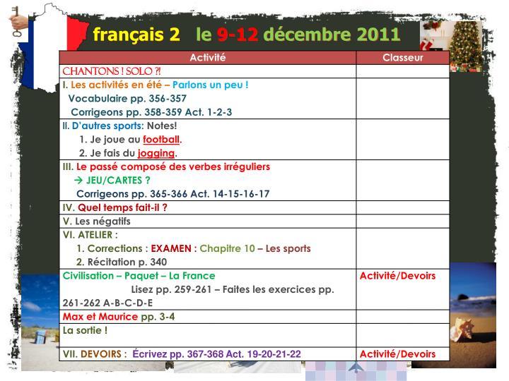 Fran ais 2 le 9 12 d cembre 2011