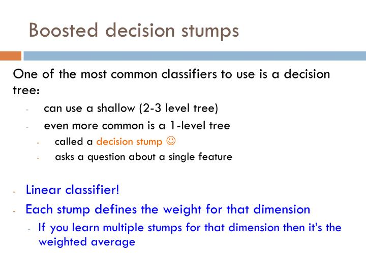 Boosted decision stumps