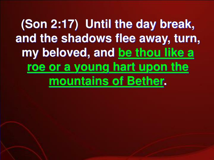 (Son 2:17)  Until the day break, and the shadows flee away, turn, my beloved, and