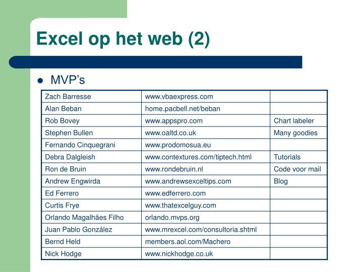 Excel op het web (2)