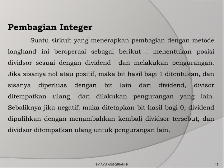 Pembagian Integer