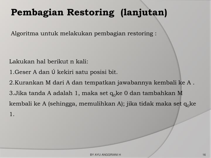 Pembagian Restoring