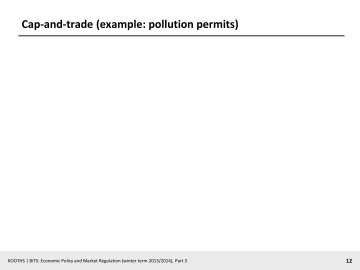 Cap-and-trade (example: pollution permits