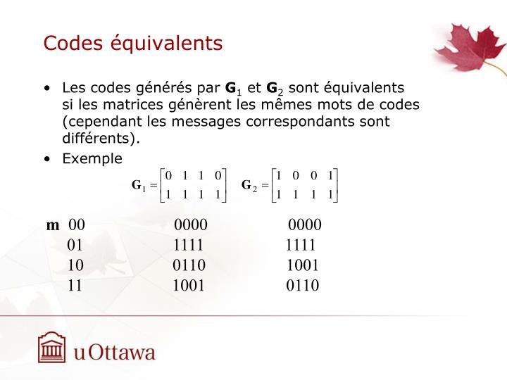 Codes équivalents