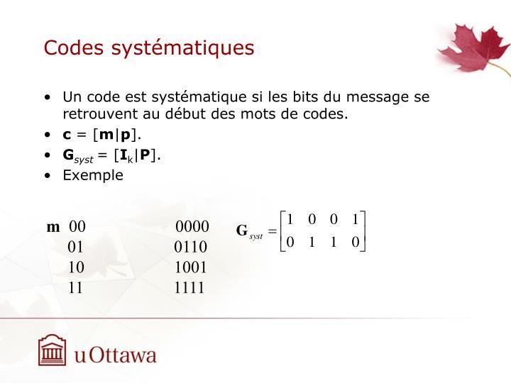 Codes systématiques