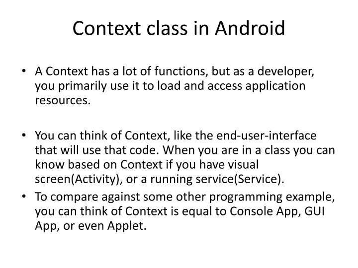 Context class in Android