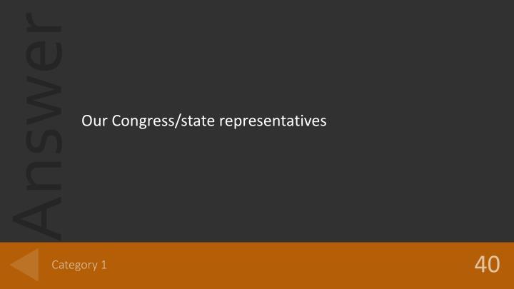 Our Congress/state representatives