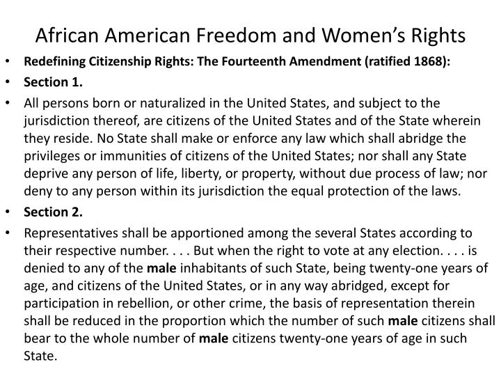 African American Freedom and Women's Rights