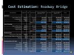 cost estimation roadway bridge