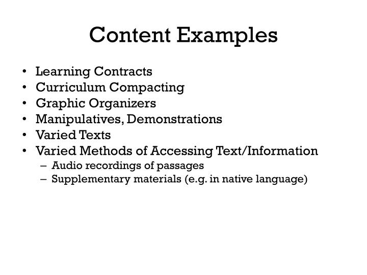 Content Examples