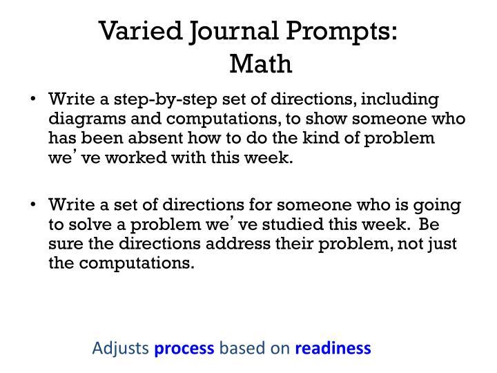 Varied Journal Prompts: