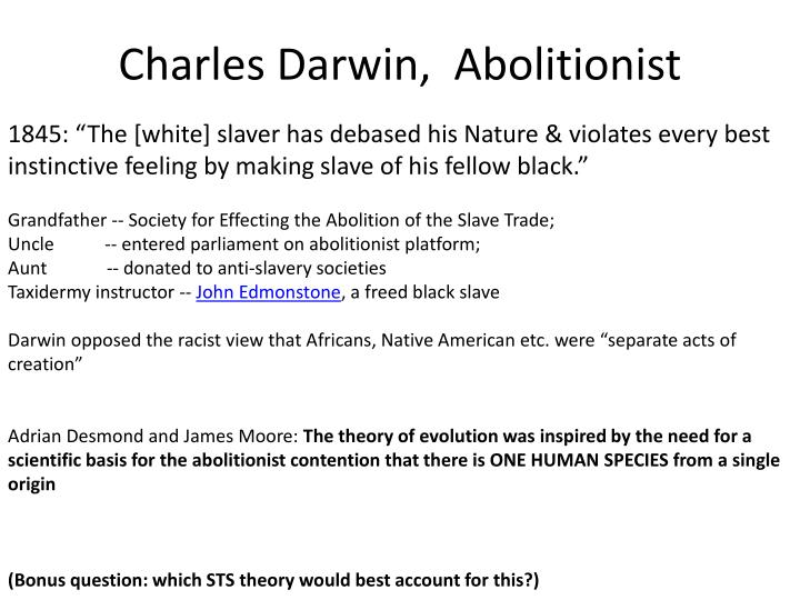 Charles Darwin,  Abolitionist