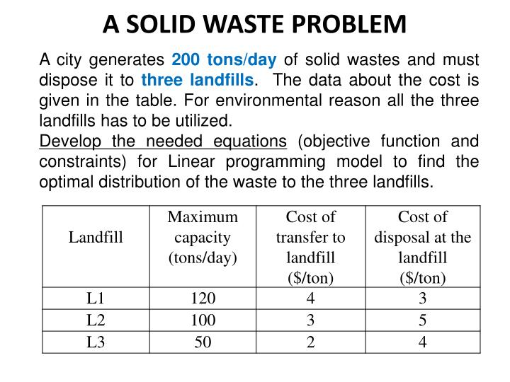 A solid waste problem