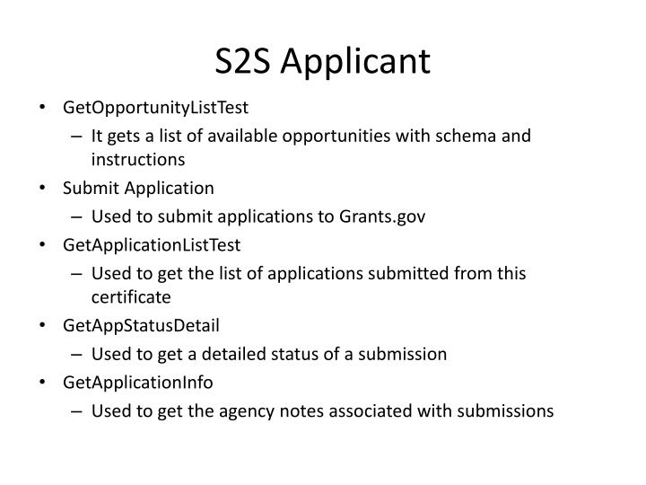 S2S Applicant