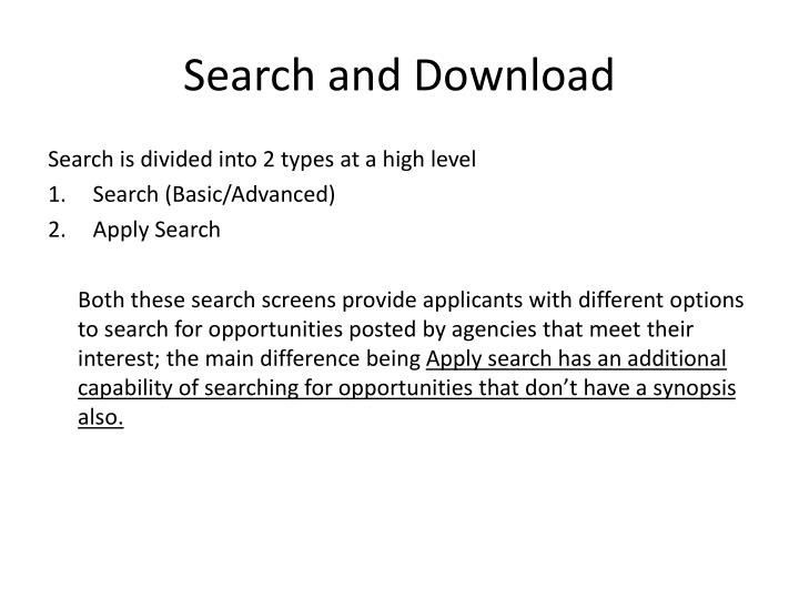 Search and Download