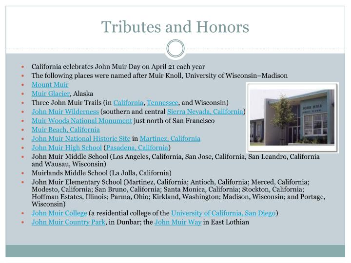 Tributes and Honors