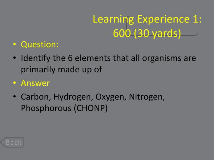 Learning Experience 1:
