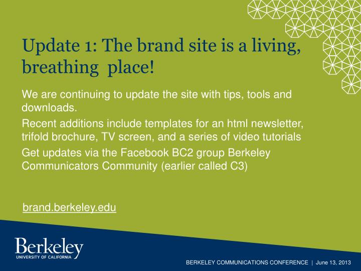 Update 1 the brand site is a living breathing place