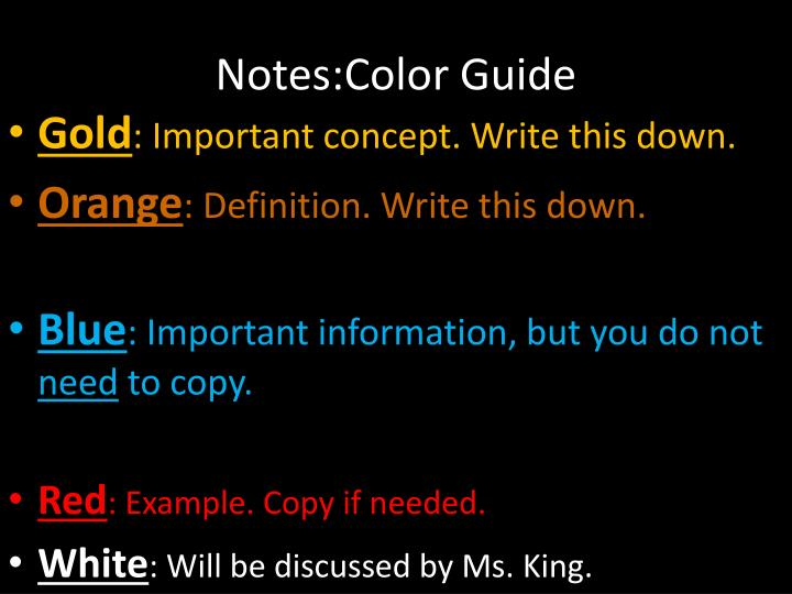 notes color guide n.