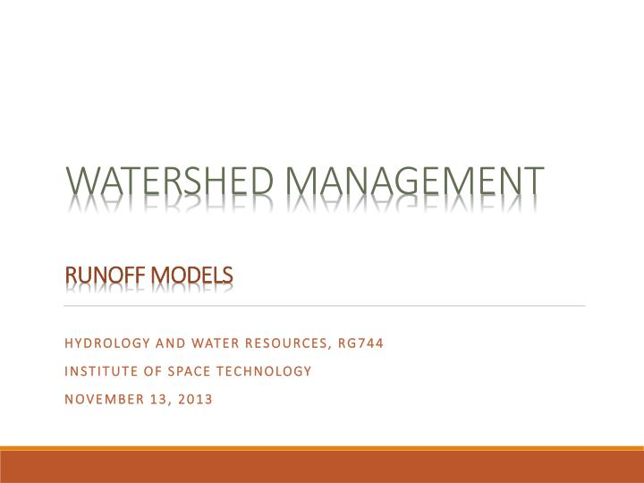 watershed management runoff models n.