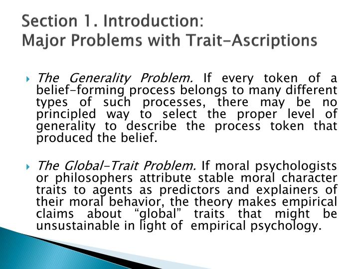 Section 1 introduction major problems with trait ascriptions
