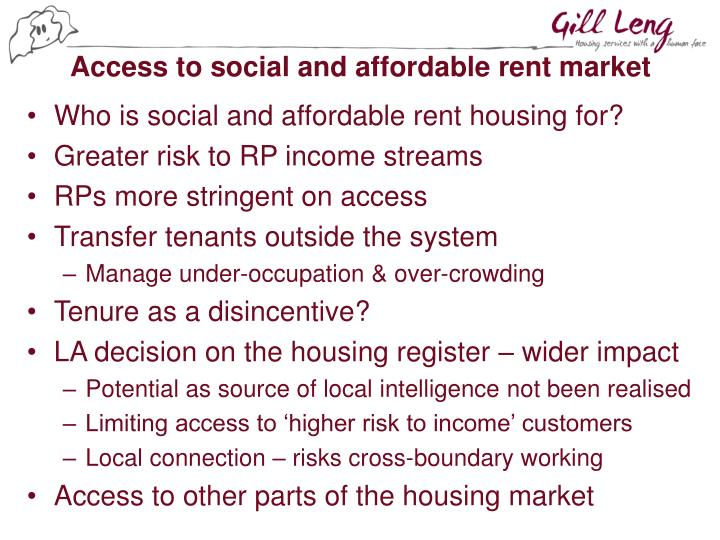 Access to social and affordable rent market