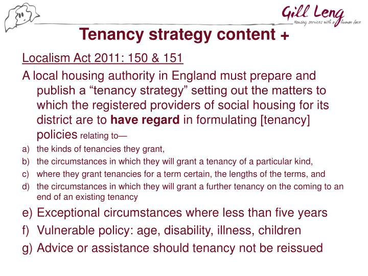 Tenancy strategy content +