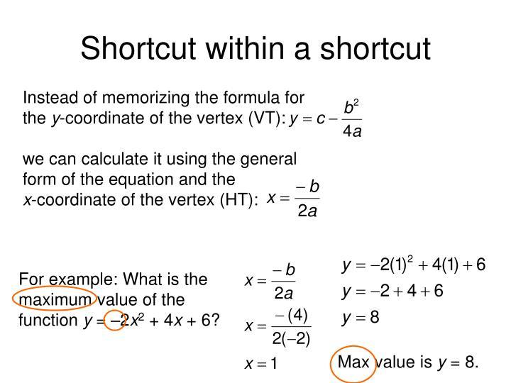 Shortcut within a shortcut