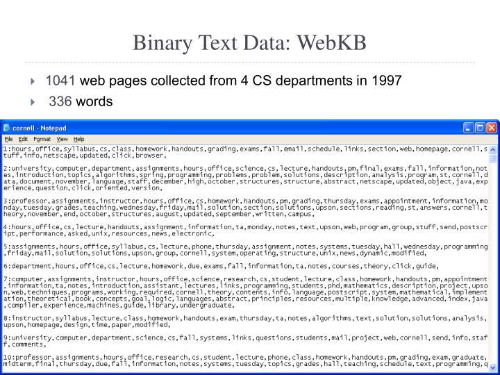 Binary Text Data: