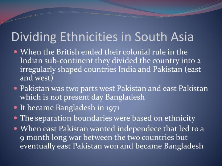 Dividing Ethnicities in South Asia