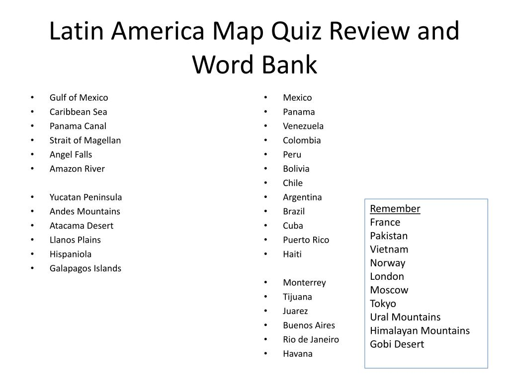 PPT - Latin America Map Quiz Review and Word Bank PowerPoint ...