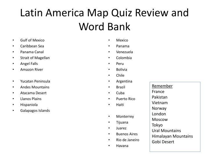 Ppt Latin America Map Quiz Review And Word Bank Powerpoint