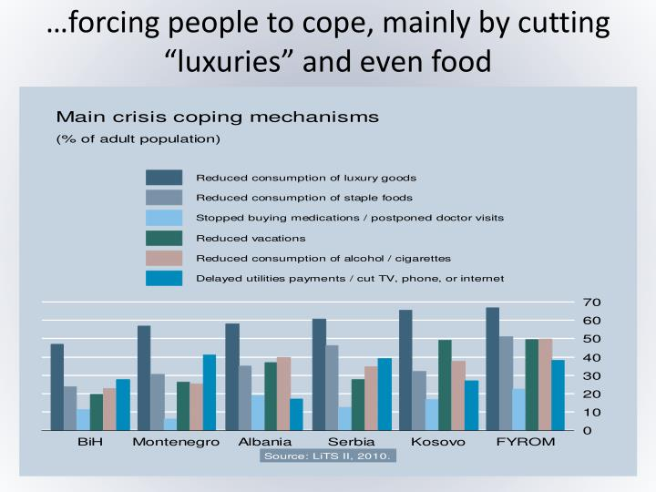"…forcing people to cope, mainly by cutting ""luxuries"" and even food"