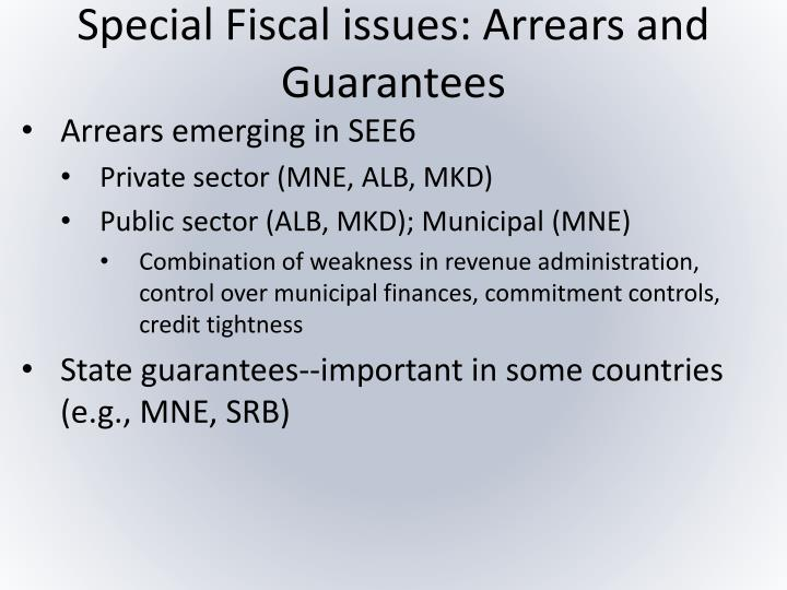 Special Fiscal issues: Arrears and Guarantees